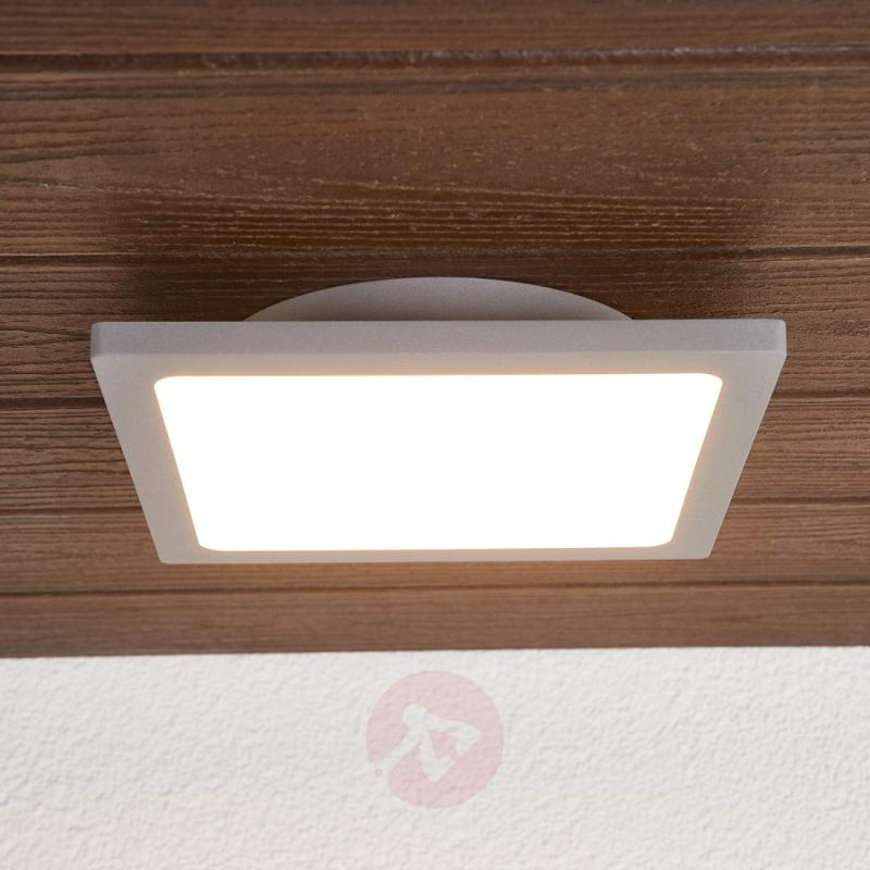 Silver grey LED ceiling lamp for outdoors - outdoor-led-lights