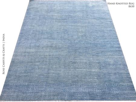 HandKnotted Modern / Contemporary Rug in Wool & Viscose Pile - Hand Made Contemporary Style Carpet in Wool & Viscose Silk Pile in size 8x10