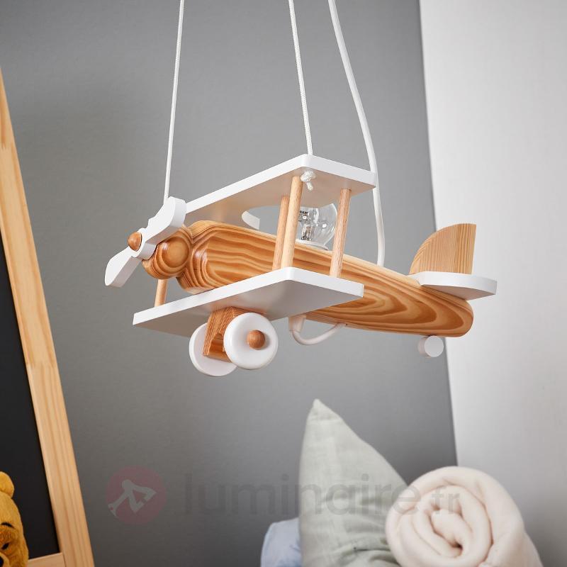 Suspension blanche Avion en éléments de bois - Chambre d'enfant