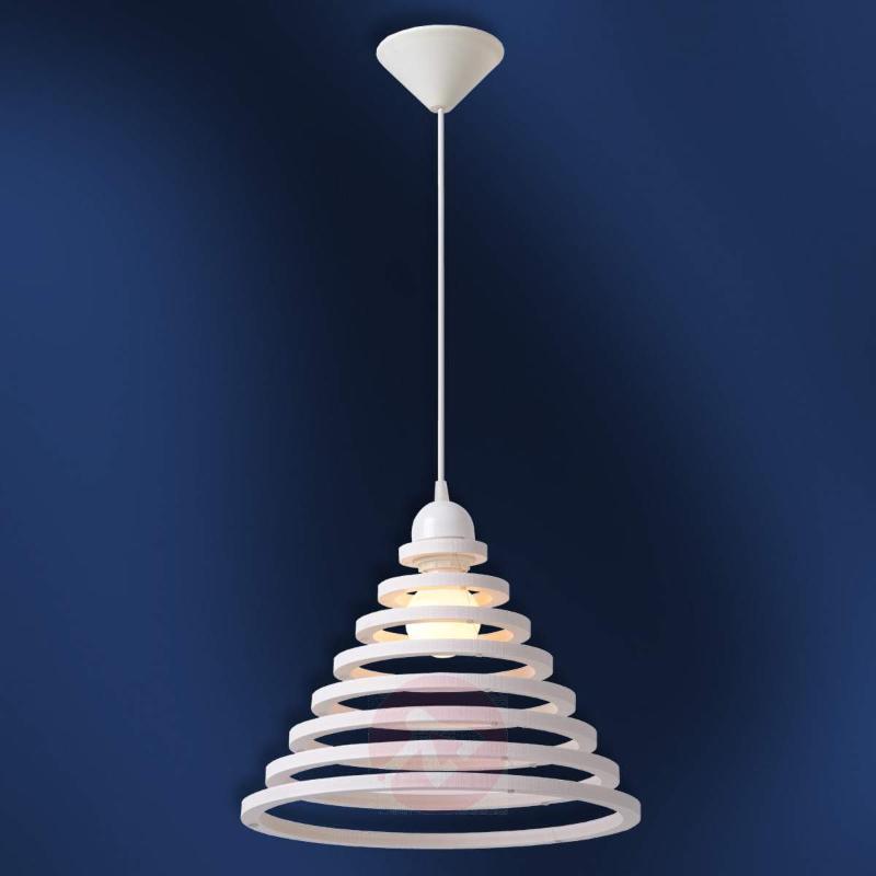 wood shade with white rings tora hanging light pendant lighting