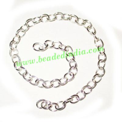 Silver Plated Metal Chain, size: 1x5mm, approx 44.2 meters i - Silver Plated Metal Chain, size: 1x5mm, approx 44.2 meters in a Kg.