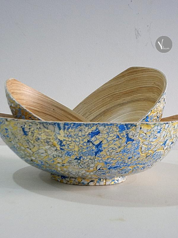Ellipse Eggshell Inlay Colorful Bamboo Bowl - Shop