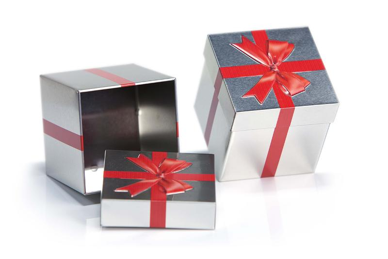 Gift cube Tin with embossed ribbon - null