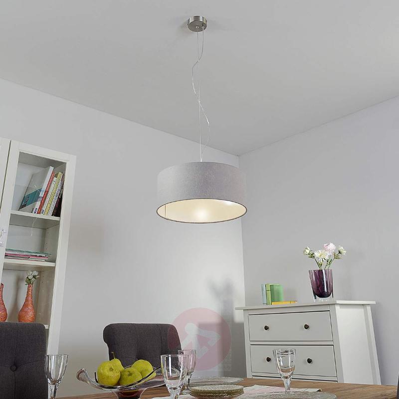Elegant Gala pendant lamp with grey lampshade - Pendant Lighting