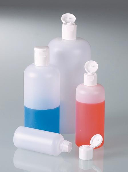 Round bottles with snap closure - Plastic bottle, packaging, HDPE transparent