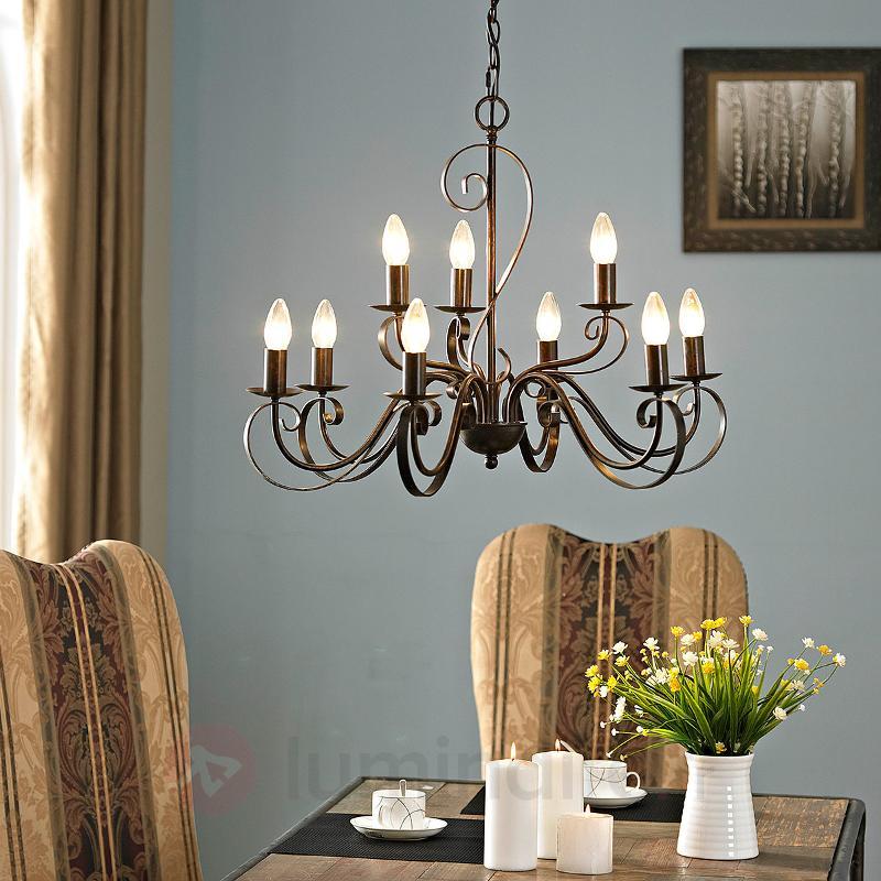 Lustre Caleb style champêtre à neuf lampes - Lustres rustiques