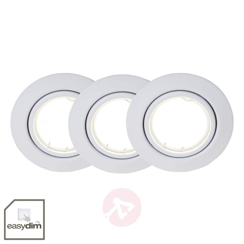 Dimmable LED recessed lights in a set of three - indoor-lighting
