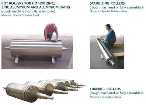 Components for STEEL STRIP COATING PROCESS - centrifugal castings for hot-dip galvanizat or electro galvanization