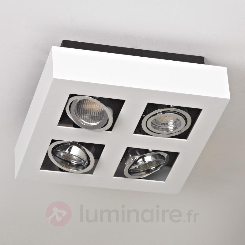 Plafonnier LED carré Vince à quatre lampes, blanc - Plafonniers LED