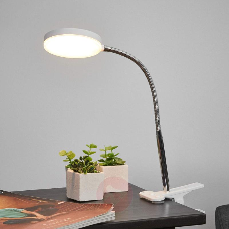 Clip-on table lamp Milow with LED and flexible arm - indoor-lighting