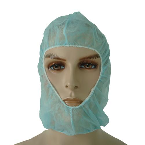 Surgical Hood - white and light blue 40 x 37cm