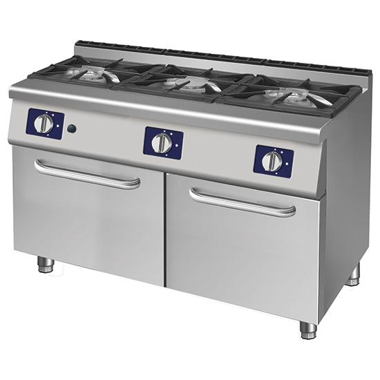 Cooking line 700 Solution - gas range, 3 burners, 2 closed cabinets