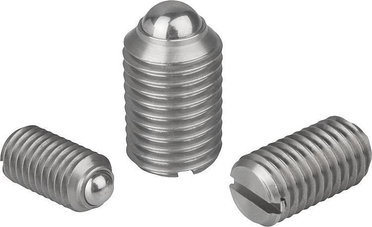 Pressori a molla con intaglio e sfera, acciaio inox - K0310