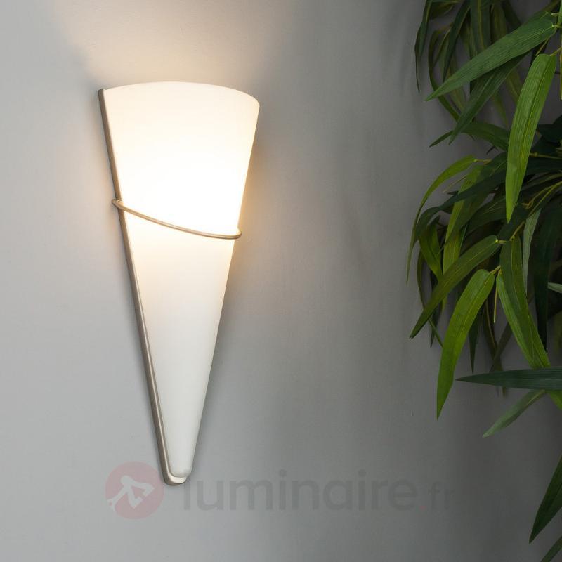 Applique LED en verre opale Melek, nickel satiné - Appliques LED