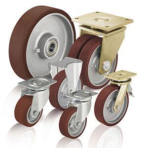 Rodas e rodízios de poliuretano - Para cargas pesadas com rasto em poliuretano fundido Blickle Besthane®