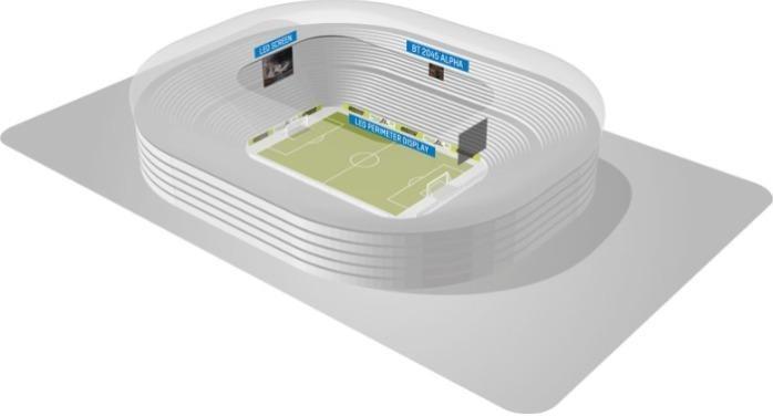 Stadion eredménytábla információs képernyők - Nagyfelbontású információk AVA LED kijelzők