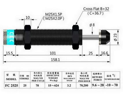 FC2525 Adjustable industrial shock absorbers - Adjustable industrial shock absorbers