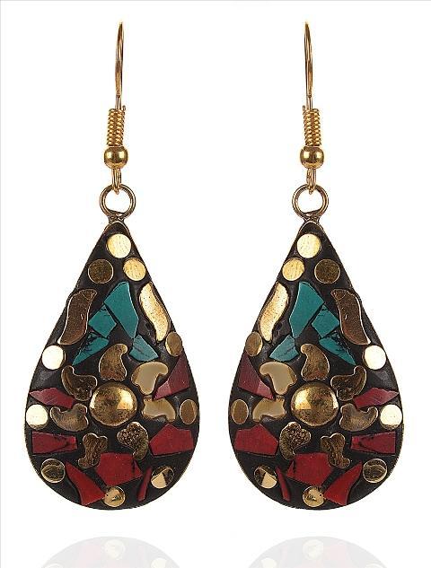 Dangle & Drop Earrings For Women - Zephyrr Red, Green Non-Precious Metal Dangle & Drop Earrings For Women