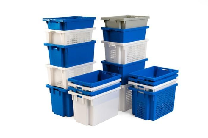 Cajas de plástico apilables y encajables - con abertura en las asas, 50L (cerrada y/o rejada)