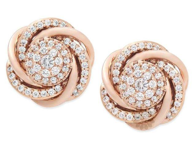 Rose Gold and Diamond Stud Earrings -