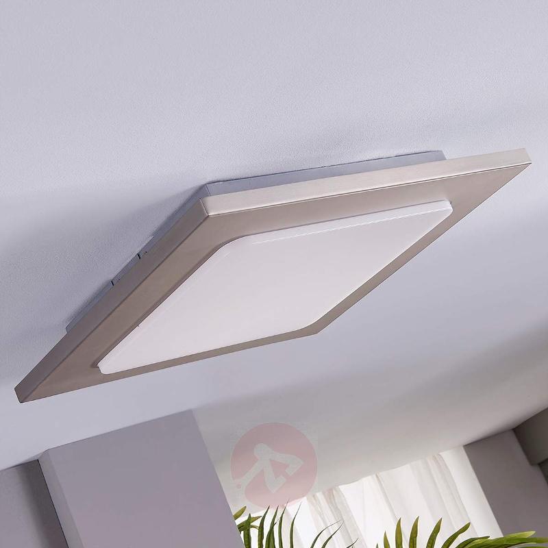 Square LED ceiling lamp Mariella, matt nickel - Ceiling Lights