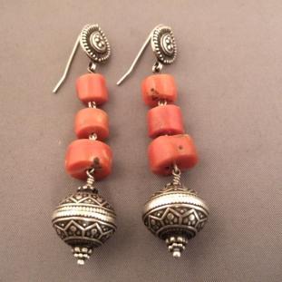 Boucles d'oreilles - Argent, coraux, Inde