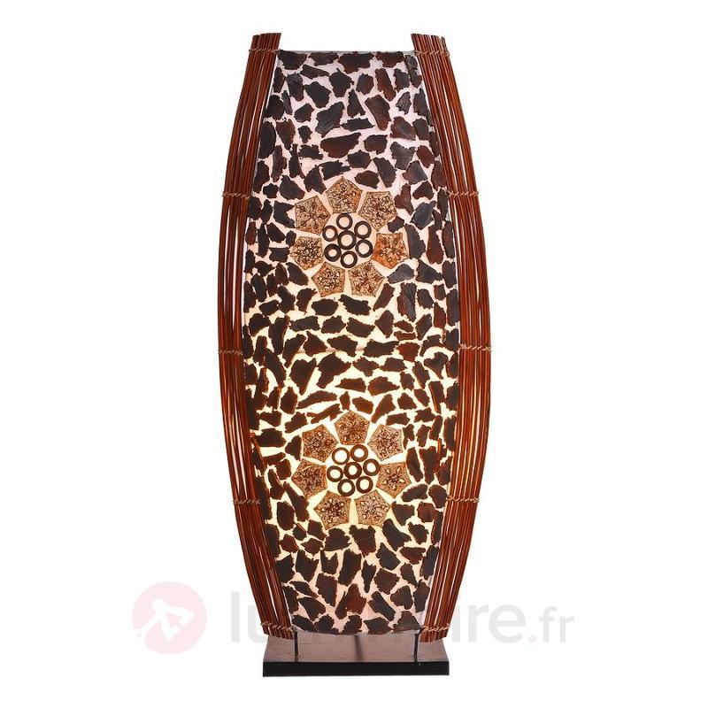 Grande lampe à poser Ronni à motif floral - Lampes à poser en bois