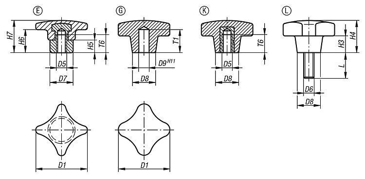 Ecrou croisillon similaire à DIN 6335 - Poignées et boutons