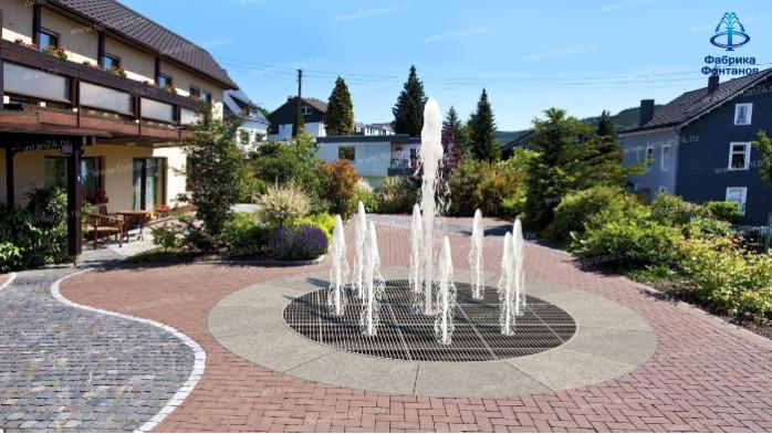 Fontaine pour piétons - Kit de montage de la fontaine avec un éclairage