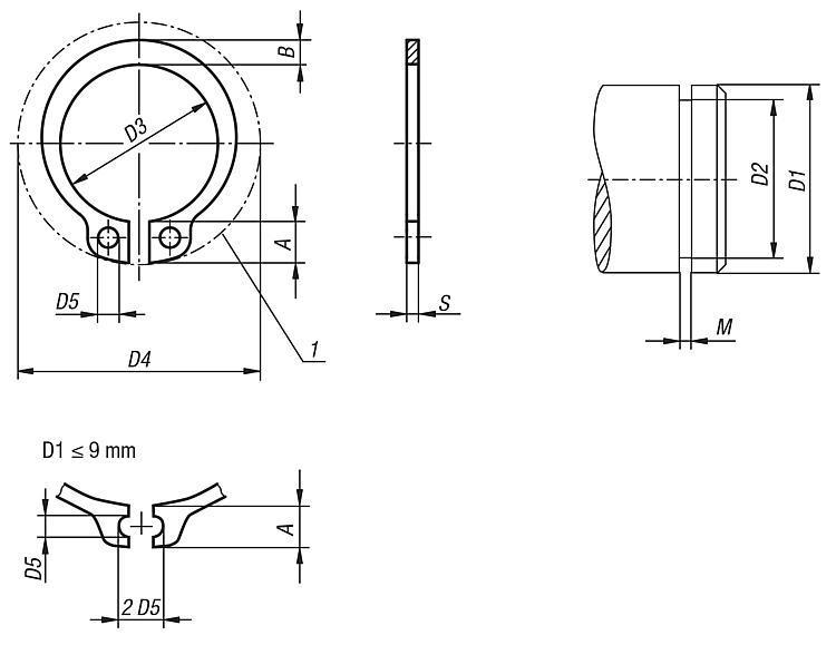 Anneau élastique pour arbres DIN 471 - Éléments de liaison