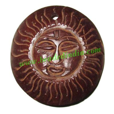 Handmade coconut shell wood Sun pendants, size : 50x3mm - Handmade coconut shell wood Sun pendants, size : 50x3mm