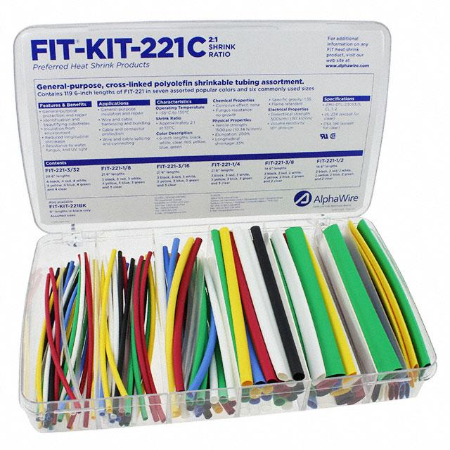 KIT SHRINK TUBING 2:1 XLPO MULTI - Alpha Wire FKIT221C MC032