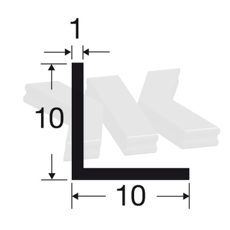 L-Profile 10x10x1mm, white - L-profiles