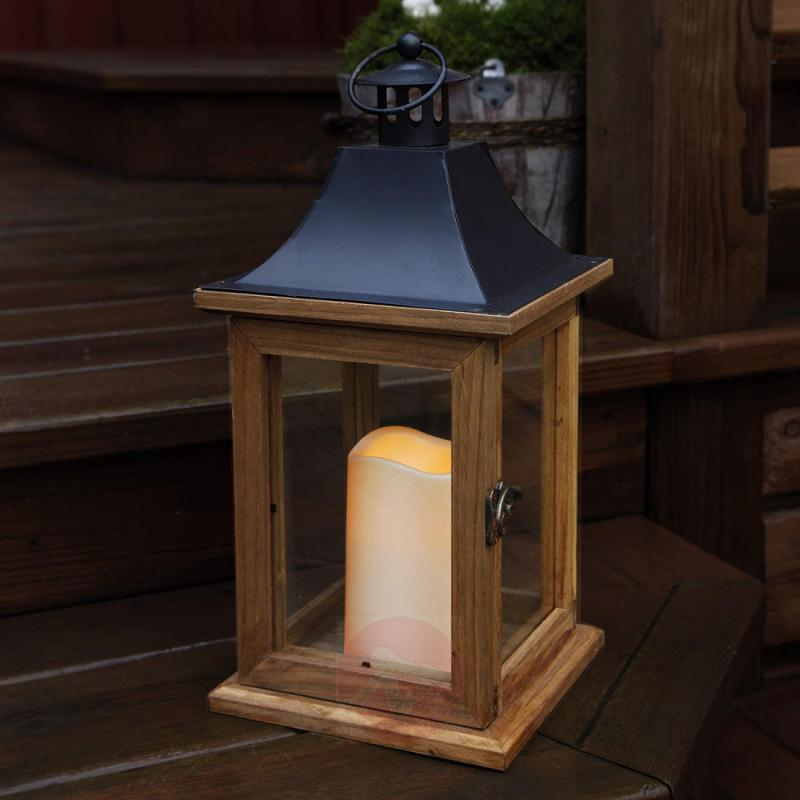 Decorative light Wood lantern with LED candle - outdoor-led-lights