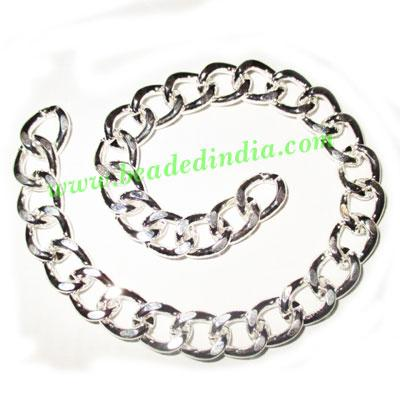Silver Plated Metal Chain, size: 2.5x11mm, approx 5.7 meters - Silver Plated Metal Chain, size: 2.5x11mm, approx 5.7 meters in a Kg.