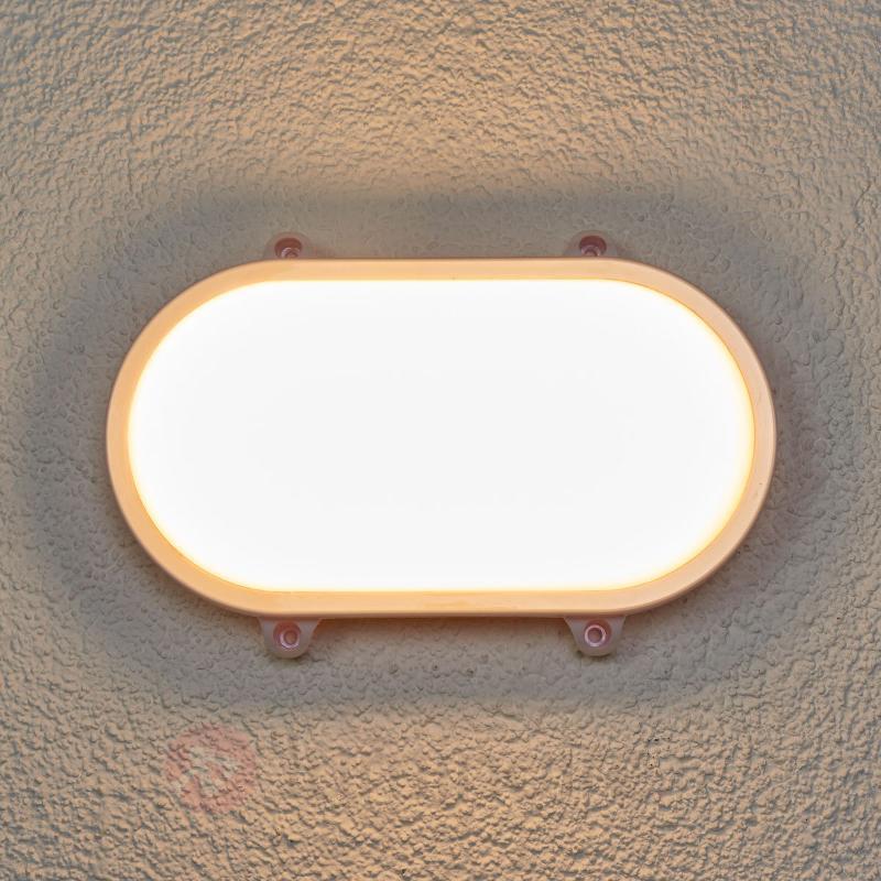 Lampe LED d'extérieur ovale Manda, blanche - Appliques d'extérieur LED