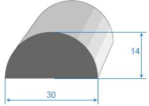 Semi-circular based foamed rubber profile, SIC HUNGARY RUBBER