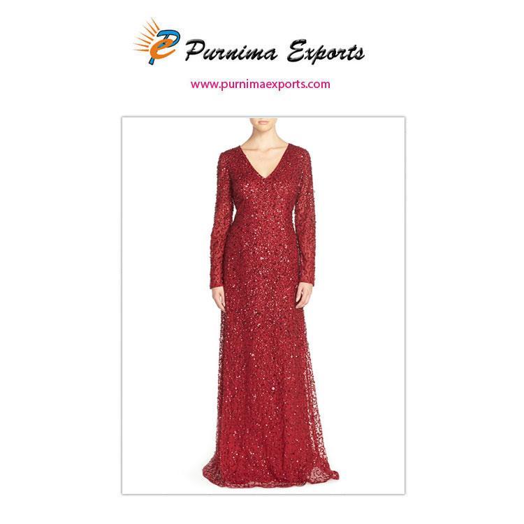 Sequin Hand Embellished Dresses Manufacturer & Exporter - Evening Dresses - Wholesale - Indian Supplier of Beaded Dresses