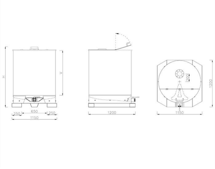 Serbatoio di stoccaggio e/o miscelazione - 6,45HL - IN0X 304 - Modello SBPM