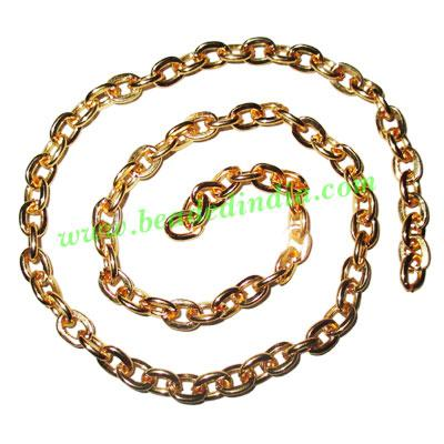 Gold Plated Metal Chain, size: 1x6mm, approx 18.1 meters in  - Gold Plated Metal Chain, size: 1x6mm, approx 18.1 meters in a Kg.