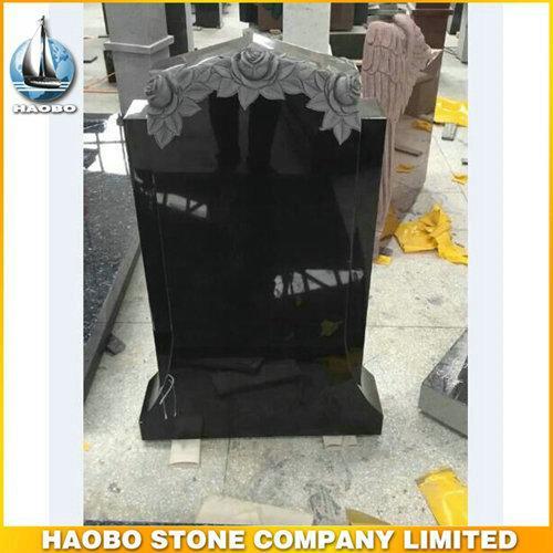 High Quality Black Granite Carved Rose Memorial For Cemetery - Carved Rose Memorial, with made in Shanxi Black granite by Haobo stone factory.