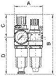 Service unit 2-part Standard-mini with metal... - Service unit, 2-piece with metal bowl and pressure gauge, metal...