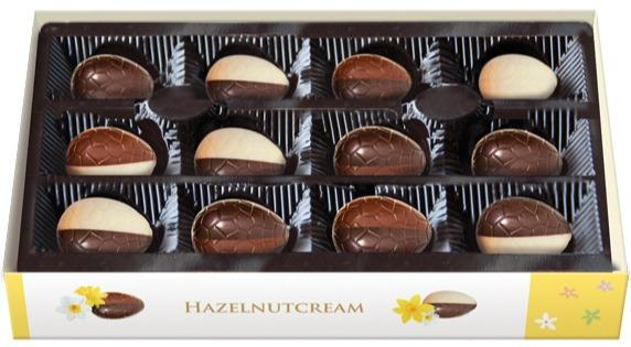 EMOTI Chocolate Eggs with hazelnut filling, 100g. SKU: 01568 -
