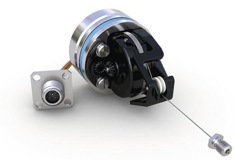 Wire-actuated encoder SGH10 - Wire-actuated encoder SGH10, Direct stroke measurement in the hydraulic cylinder