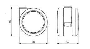 "Reinforced copolymer ""W"" type soft treads - CASTOR EMI Ø mm. 65 ""GEMIOPEN"""