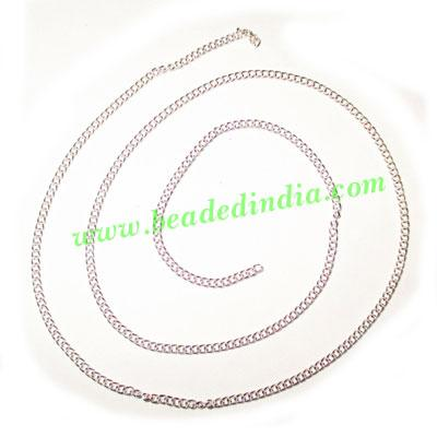Silver Plated Metal Chain, size: 0.5x2mm, approx 131.8 meter - Silver Plated Metal Chain, size: 0.5x2mm, approx 131.8 meters in a Kg.