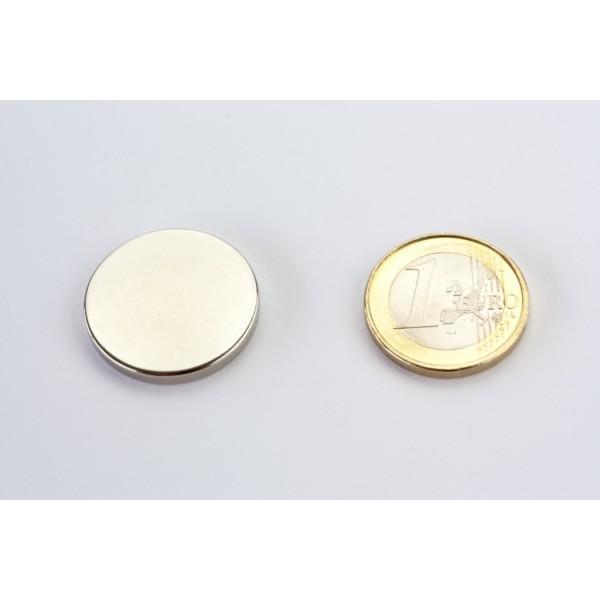 Neodymium disc magnet 25x3mm, N45, Ni-Cu-Ni, Nickel coated - Disc