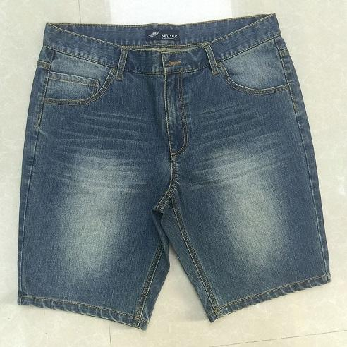 Men's denim shorts Stonewashed blue jeans middle pants -