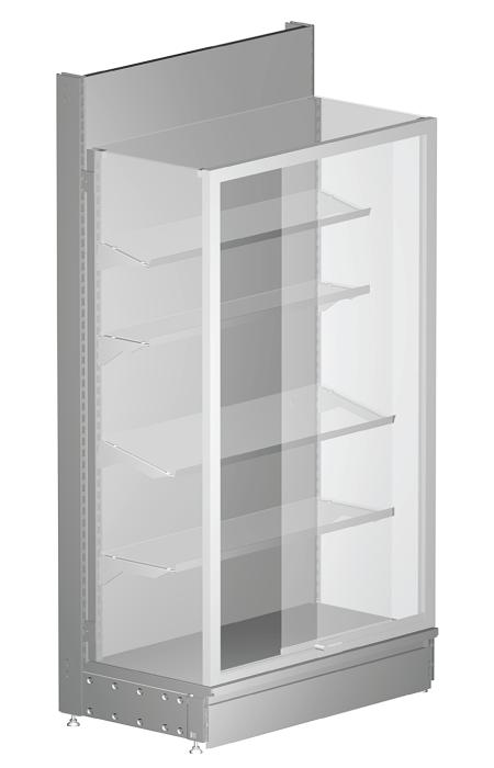 Modular shop rack systems & instore interior shelving design - Glass show cases and sliding glasses