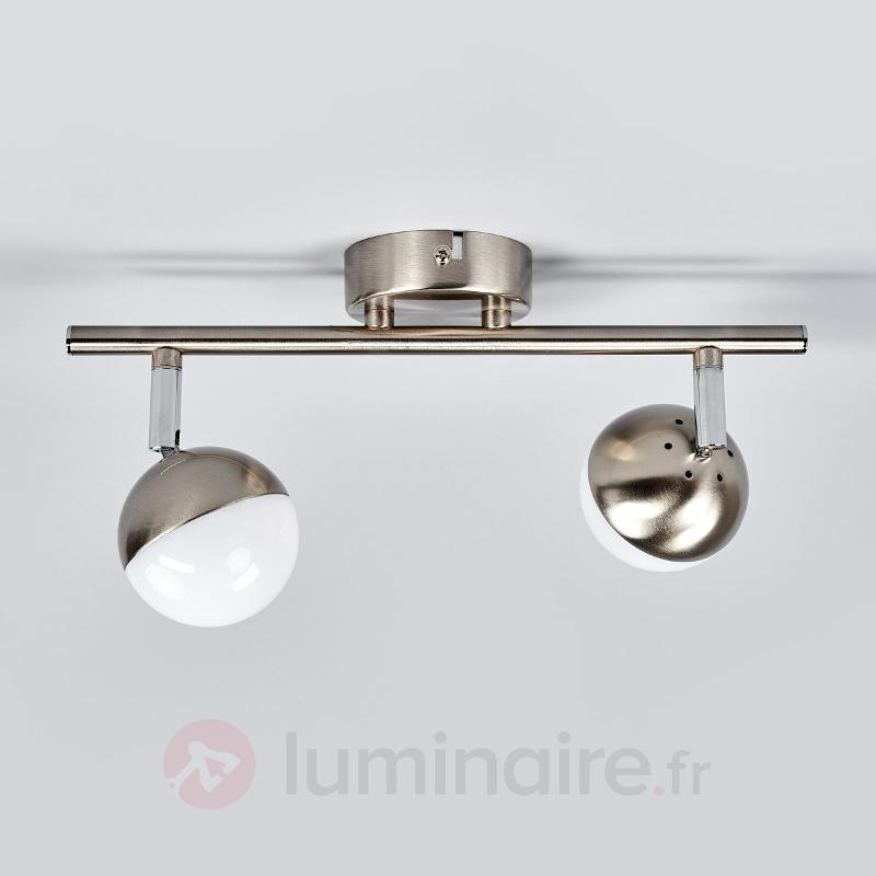 Spot LED à 2 têtes Jonne, nickel mat - Spots et projecteurs LED